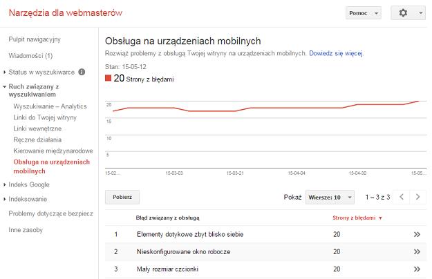 Obsługa na urządzeniach mobilnych w Google Webmaster Tools