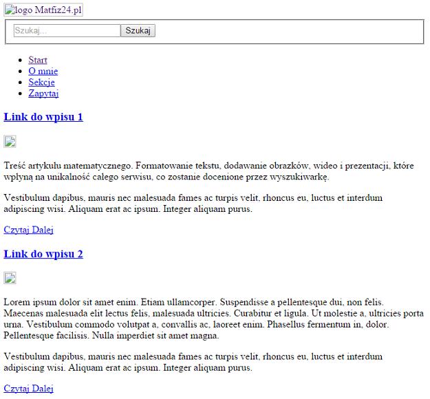 rozsypana strona wczytująca tylko kod HTML