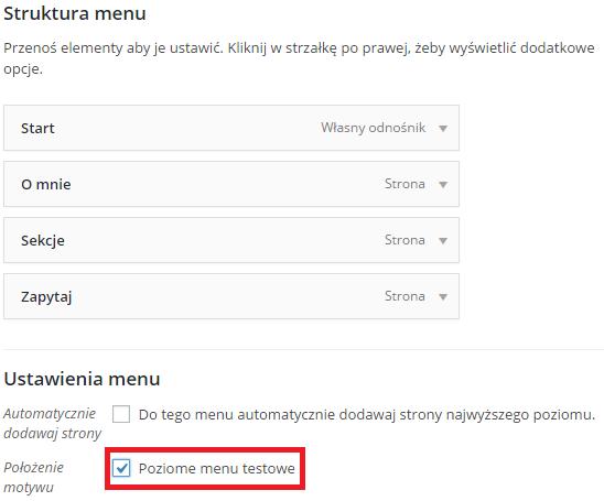 tworzenie menu w kokpicie i przypisanie do Poziomego menu testowego