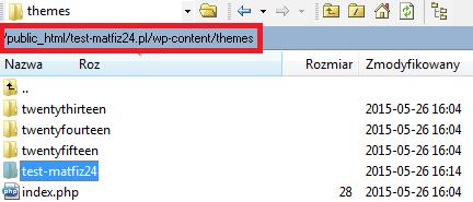 wgranie szablonu do katalogu themes