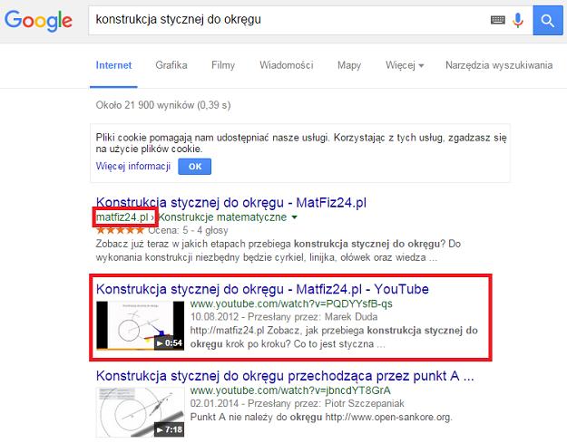 wideo matfiz24.pl w wynikach wyszukiwania
