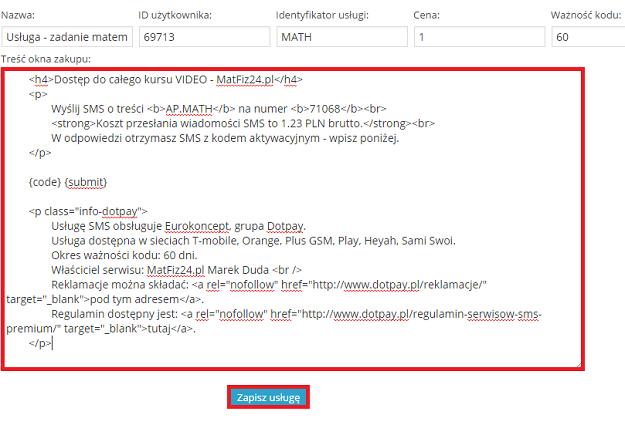 treść okna zakupu w HTML