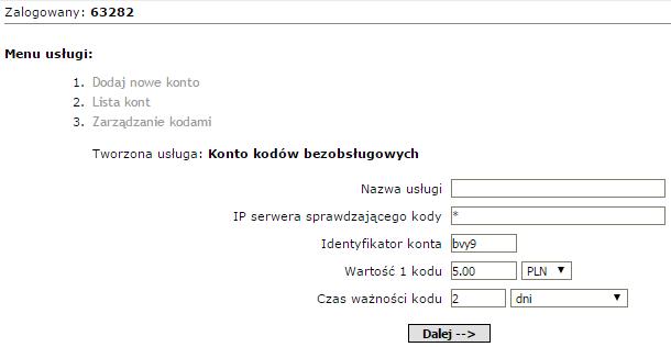 ustawienia początkowe konta kodów bezobsługowych