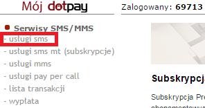 wybierz usługi SMS