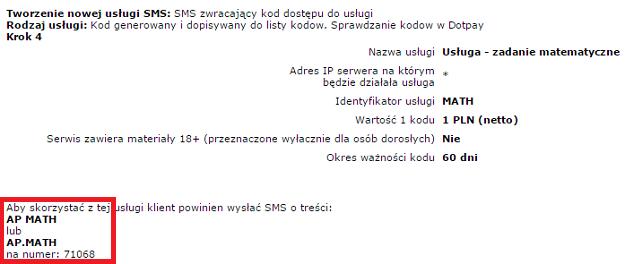 wygenerowanie treści i numeru sms do opłacenia usługi
