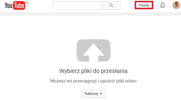 prześlij wideo na youtube
