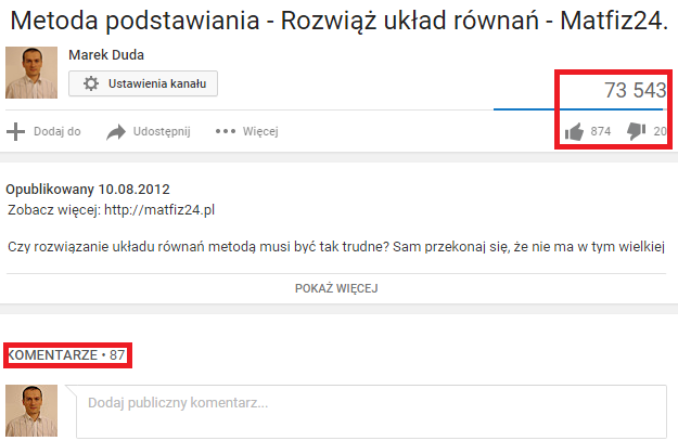 wyświetlenia pozytywne oceny i komentarze na youtube