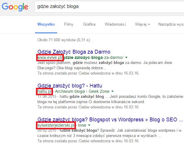 darmowe blogi mają niskie pozycje w wyszukiwarce google