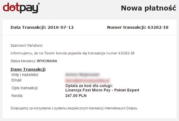 nowa płatność za wtyczkę fast micro pay - wiadomość z dotpay