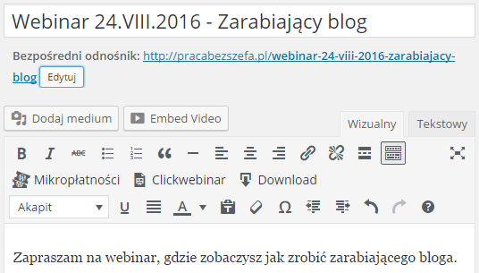 dodaj wpis na wordpressie promujący webinar