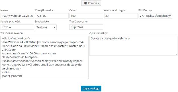 formularz dodawania nowej usługi płatności online w dotpay za dostęp do webinaru