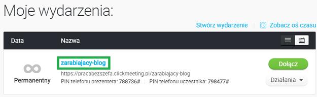 kliknij w nazwę wydarzenia w clickmeeting