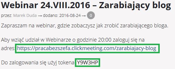 po opłacie za webinar otrzymujesz token dostępu do webinaru