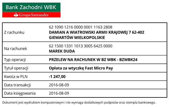 potwierdzenie przelewu za aktualizacje wtyczki fast micro pay