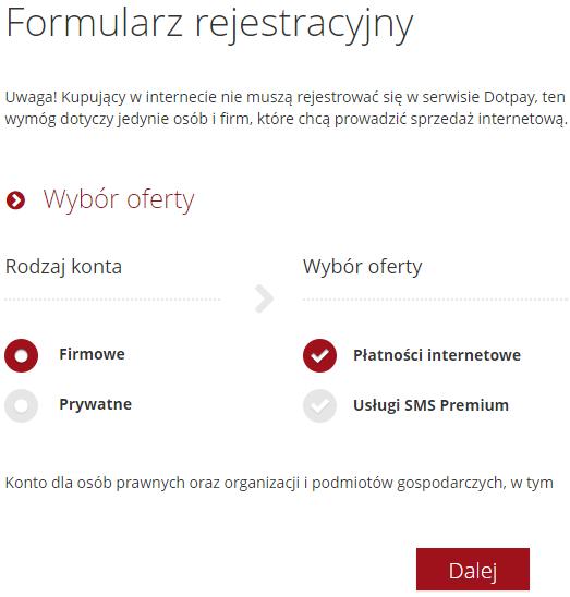 rejestracja konta produkcyjnego w nowym panelu Dotpay