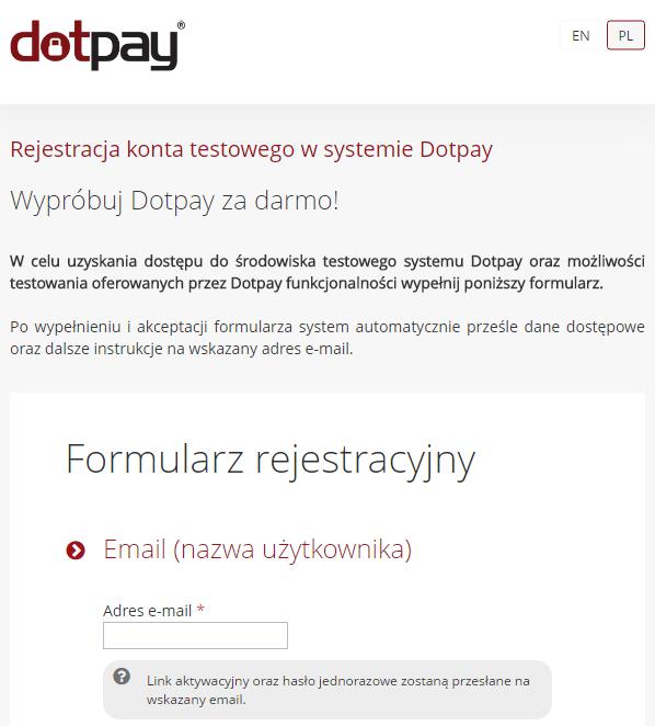 rejestracja konta testowego dotpay do płatności online