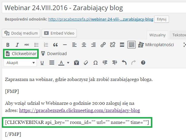 shortcode połączenia z webinarem clickmeeting