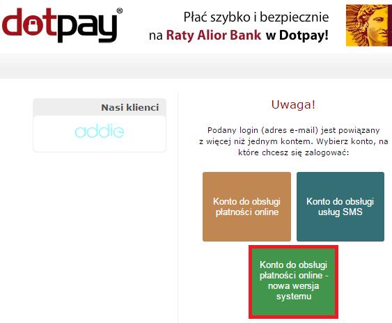 wybierz konto do obsługi płatności online Dotpay - nowa wersja systemu