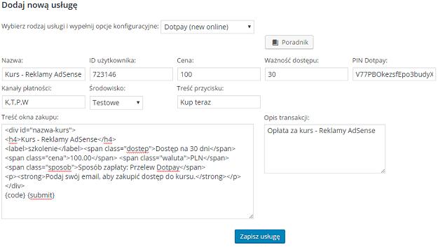 wypełniony formularz płatności online