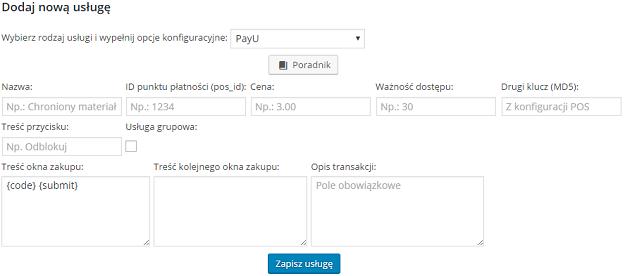 formularz dodawania usługi płatności fast micro pay