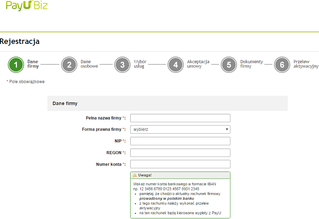rejestracja konta firmowego do płatności w payu