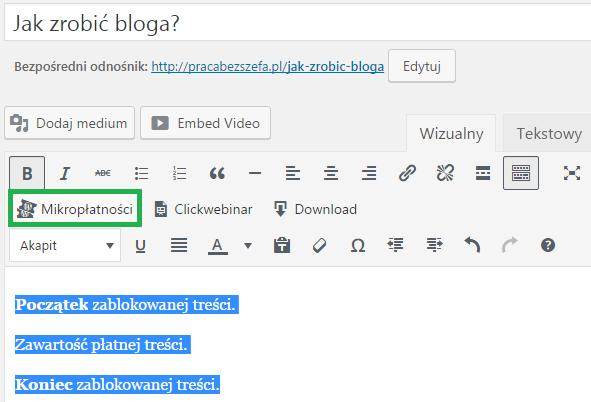 kliknij ikonę mikropłatności w edytorze wizualnym