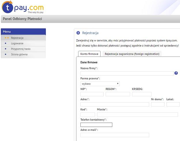 rejestracja konta firmowego tpay