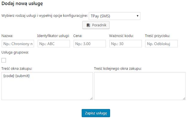 formularz dodawania usługi sms tpay w fmp