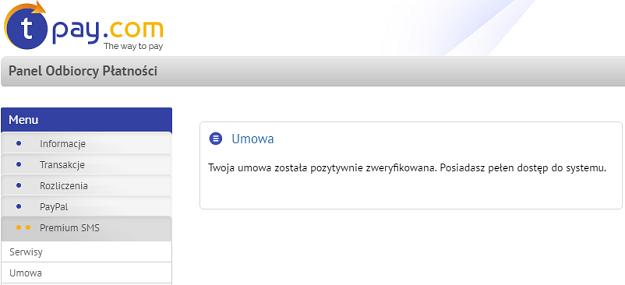 weryfikacja umowy sms premium tpay