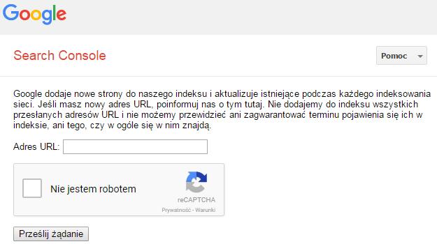 wysyłanie domeny przez formularz google