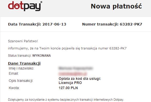 transakcja - zakup na stronie