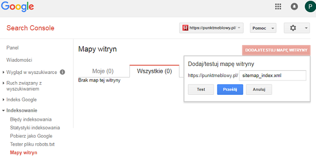 mapa witryny dodana do google search console
