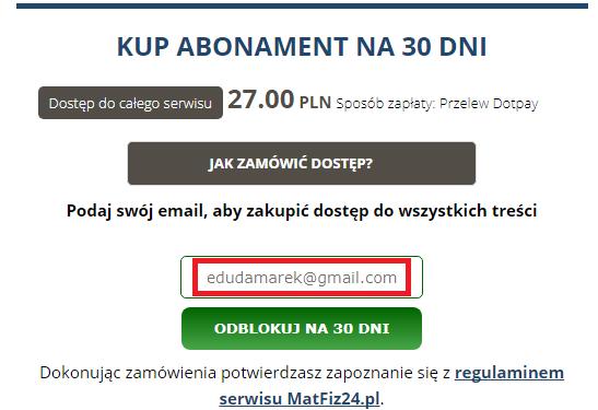 pobranie maila do płatności