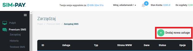 dodaj nową usługę sms premium simpay
