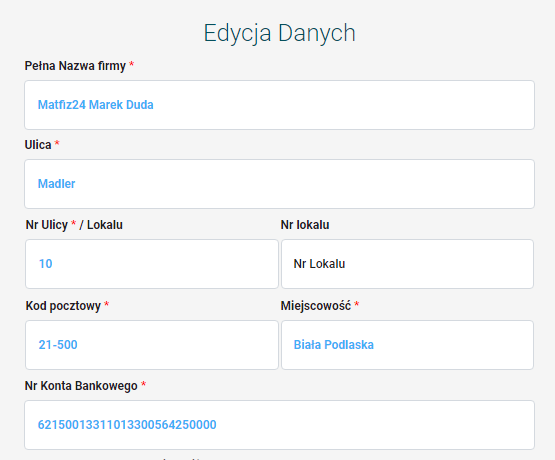 edycja danych simpay