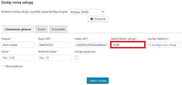 identyfikator usługi fast micro pay
