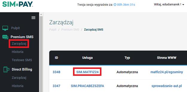 wybierz usługę premium sms simpay