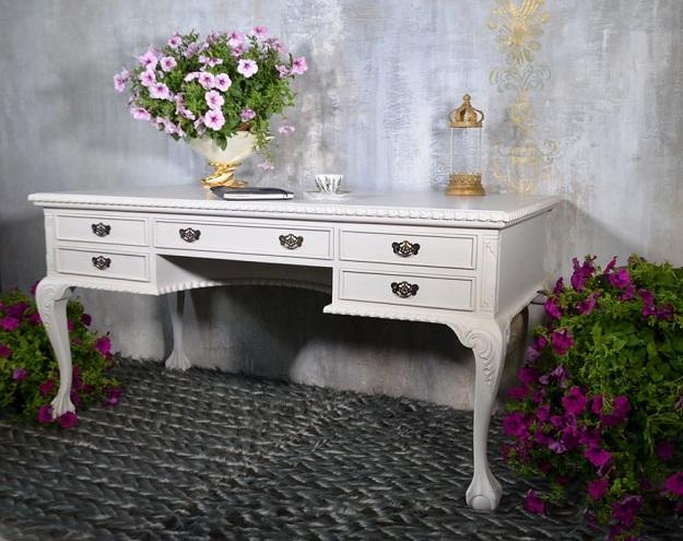 biurko białe stylowe drewniane styl barok ludwik