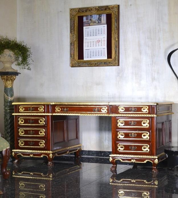 biurko drewniane retro empire mahoniowe złocone