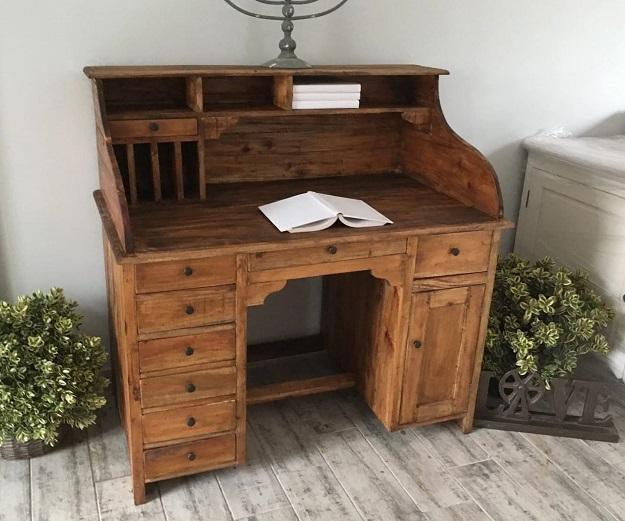 biurko sekretarzyk woskowany styl rustykalny