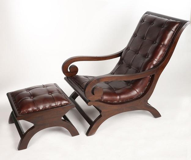 stylowe fotel retro z podnożkiem kolonialny skórzany
